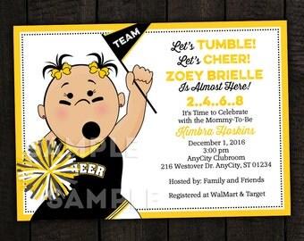Cheerleader Tailgate Baby Shower or Birthday Invitation -- Any Team -- PRINTABLE INVITATION DESIGN