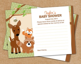 20 Woodland Forest Friends Neutral Baby Shower Advice Cards for Mommy - ANY COLOR