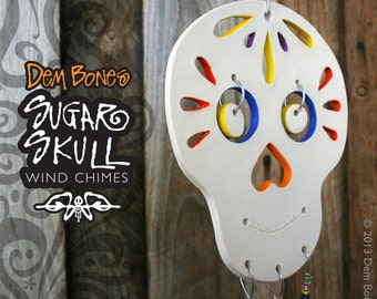 Ceramic Wind Chime Sugar Skull -  Day Of The Dead Outdoor Decoration