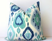 Turquoise and Blue Ikat Designer Cushion Cover Accent Pillow suzani damask cream teal sea foam green wedgewood navy mint linen periwinkle