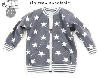 Zipper crew neck sweatshirt pattern // instant download // photo tutorial // 0M-6T // #60