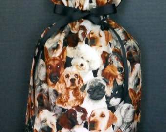 Beautiful Dogs Medium Fabric Gift Bag - Dog, Pets, Pet, Animal, Canine, Black, Brown, Gray, White, Beige
