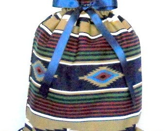 Native American Navy Stripe Medium Fabric Gift Bag - Southwest, Ethnic, Cultural, Tribal, Blanket, Tan, White, Red, Green, All Occasion