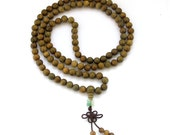 8mm 108 Green Sandalwood Wood Beaded Tibet Buddhist Prayer Beads Japa Mala Necklace  ZZ007