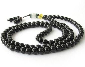 6mm Tibetan Buddhist Black Agate Charm Beaded 108 Prayer Beads Gemstone Mala  ZZ037