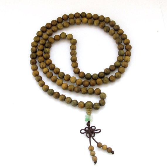 8mm 108 Green Sandalwood Wood Beaded Tibet Buddhist Prayer Beads Japa Mala Necklace  ZZ007