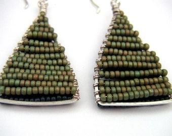 Triangle Earrings Green Beaded Silver Hoop Dangles Hammered Wire Jewelry Geometric Two Tone Earrings Tribal Jewelry Shape Earring