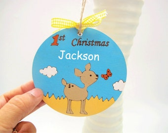 Personalized Baby's First Christmas ornament, bambi baby deer hliday decor, wooden ornament, holiday