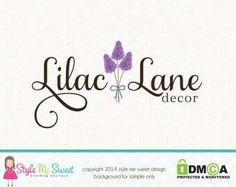 lilac flower logo floral logo florist logo premade logo design graphic design watermark logo photography logo photographers logo branding