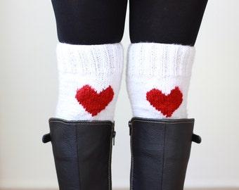 Heart boot cuffs, Women legwarmers, White boot cuffs, Heart Knit cuffs women, Knit boot toppers, Knit cuffs, Back to school