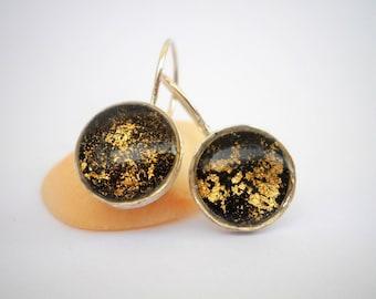 Black Earrings,  Hook Earrings, Black and gold earrings, Formal Earrings, Small Dangle Earrings