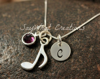 Sterling Silver Mini Initial Hand Stamped Music Note Charm Necklace