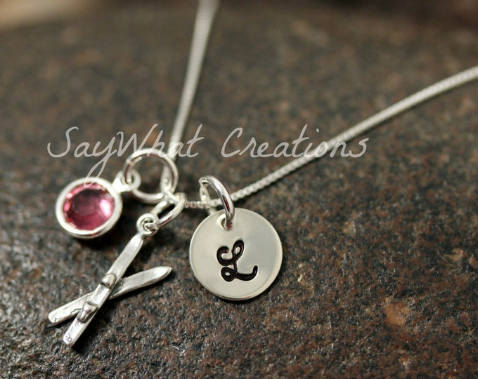 Sterling Silver Mini Initial Hand Stamped Ski Charm Necklace Skier