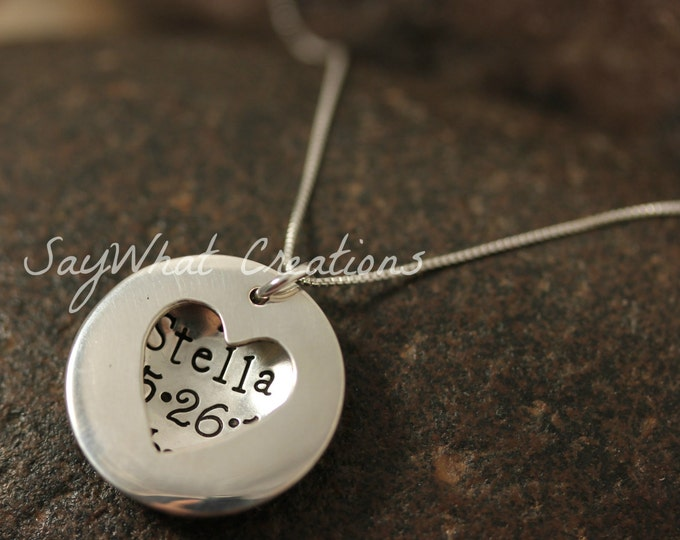 Sterling Silver Heart Locket Hand Stamped Necklace with Baby Details Inside Perfect for New Mothers