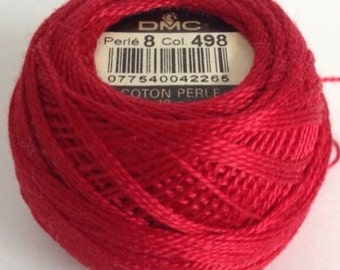 DMC Perle Cotton Ball Size 8  Dark Red 1168 498  Redwork, Embroidery, Cross stitch, Quilts