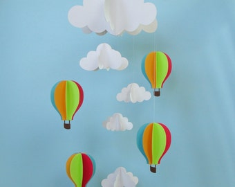 Baby Mobile - Hot Air Balloons and Clouds Hanging Baby Mobile/3D Paper Mobile/Nursery Mobile