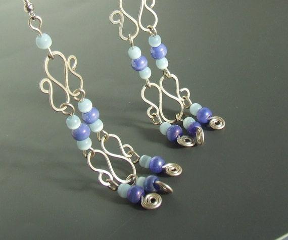 Blue chandelier earrings extra long earrings silver plated jewelry