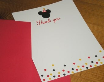 Mickey mouse Thank you cards - Set of 12