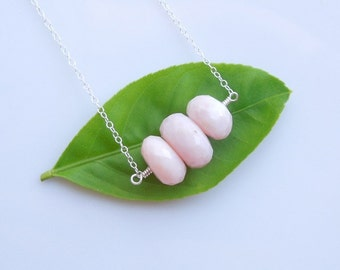 Blush Pink Opal Necklace in Sterling Silver - Ombre Pink