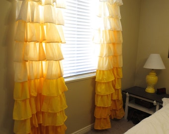 NEW - Yellow Ombre Ruffle Curtains