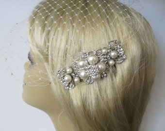 Birdcage Veil and a Hair Comb  (2 Items) ,pearl comb, birdcage veil ,Bridal Hair Comb,Weddings, Blusher Bird Cage Veil, Bridal Jewelry