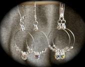 Silver Hoop with Swarovski Crystal Teardrop and Silver Shade Earrings