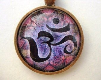 Yoga Necklace:  Om on Mandala Necklace (006)