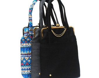 13'' Laptop bag with straps- Blue ethnic fabric - Duchess Case collection