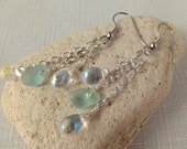 Chain dangle earrings aqua sea glass with crystal drops, silver plated chain, hypoallergenic ear wires