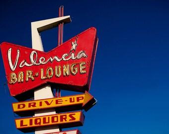 Valencia Bar and Lounge Neon Sign - Albuquerque New Mexico - Mid Century Modern Home Decor - Retro Wall Art - Fine Art Photography