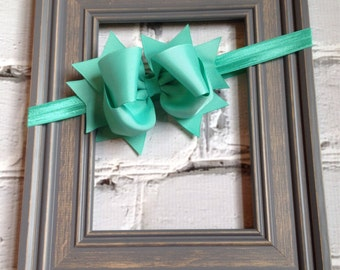 Boutique Baby Girls Aqua Tropic Elastic Headband with Tropic Large Hair Bow Perfect for photo props holidays birthdays
