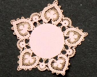 Pink Heart antique Laser Cut Doily
