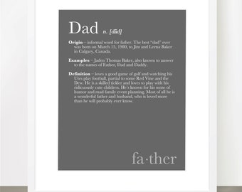 DAD DEFINITION Print - Dictionary Inspired Print, Dad, Father, Grandfather, Fathers Day, Gift, 8x10, Custom Colors, Personalized