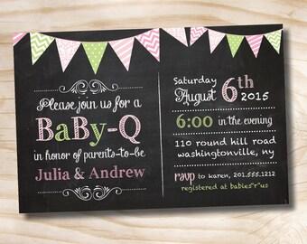 BabyQ Blackboard Chalkboard Baby Shower Couples bbq Invitation printed invitations - Printable Digital file or Printed Invitations