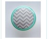 1 (ONE)  Turquoise Gray zig zag Chevron kids  Dresser Drawer Knob