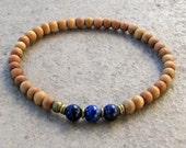 compassion, sixth chakra, sandalwood and genuine lapis lazuli gemstone mala bracelet