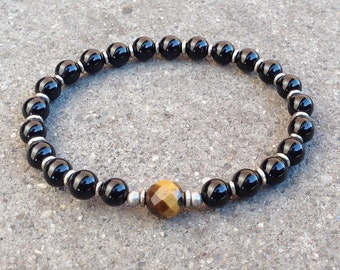Patience and abundance, onyx and tiger's eye guru bead mala bracelet