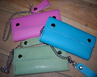 Handmade USA Large Leather Biker Trucker Wallet w/ Chain Turquoise Pink Green