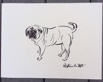 Simple Pug Dog Drawing