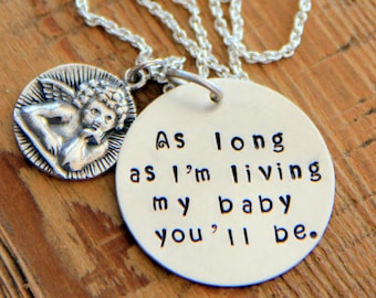 Guardian Angel Necklace, Nursery Rhyme, Cherub Necklace Bereavement Jewelry, Mom Gift For Daughter, As Long As I'm Living,Memorial Stillborn