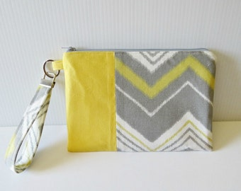 Yellow and Gray Chevron Fabric Clutch/Wristlet