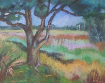 SALE  Oak Tree on the Marsh- Large Original Acrylic Painting on Canvas 24x30