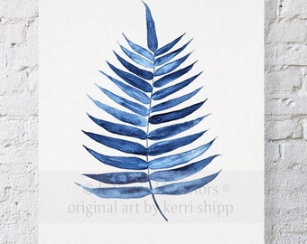 Palm Leaf Tropical Wall Art Watercolor Print 8x10 - Blue Palm Wall Art - Watercolor Art Print - Giclee Print