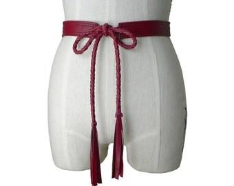 Braided Leather Belt- Jacket belt - Leather Tie Belt - Tassel belt - womens belt - Cranberry Red - Soft Leather Belt - small medium 25 - 31