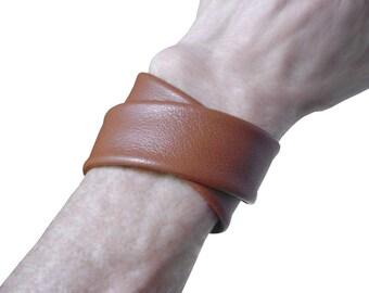 Double Wrap Leather Bracelet Cuff, Burnt Caramel Lambskin Leather, Layered Leather Cuff  Bracelet,  Women, custom made