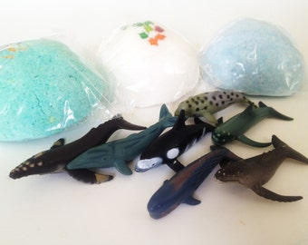 SEA CREATURE 5oz Large Bath Candy - Fun Ocean Party Idea -  Under The Sea World Birthday Favors - Toy inside - Lush Exploding Bath Bomb fun!