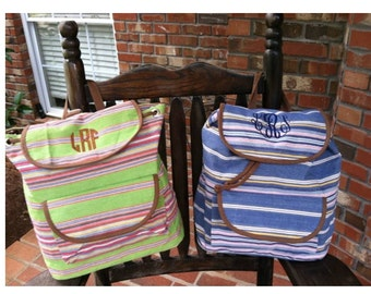 Monogrammed canvas back pack....