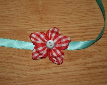 Red Gingham Flower Aqua Headband Tieback RTS Newborn to Child