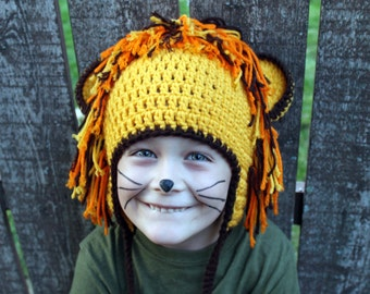 Lion Crochet Earflap Hat - Kid or Adult - Any Color - Childrens Accessories by Julian Bean