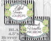 Paris Party Candy Buffet Signs by Cutie Putti Paperie
